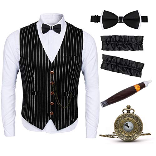 Funhoo 1920s Mens Gangster Gatsby Kostuum Vest Accessoires Set Fancy Jurk Outfit Armband Tie Speelgoed Sigarenhorloge, Large, Zwart