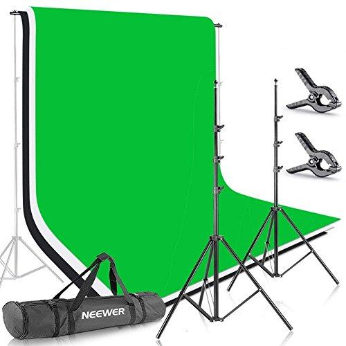 Neewer 2x3M Hintergrund Set - Stativ Unterstützungssystem mit 1,8x2,8M Musselin Kulisse (weiß, schwarz, grün) und Tragetasche