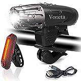 Bike Light Set USB Rechargeable Mountain Voneta Bicycle Headlight and Taillight Set WaterproofLED