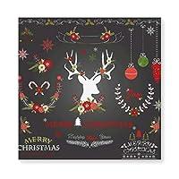メリークリスマス 花と鹿 Merry Christmas 木製 額縁 フォトフレーム 壁掛け 木製 横縦兼用 絵を含む 40×40cm