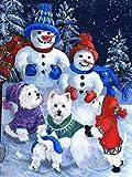 Ejnsef Kits de Pintura de Diamantes 5d para Adultos llenos de Cristales muñeco de Nieve Mosaico, Pun...
