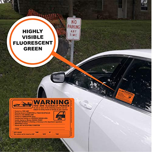 Parking Violation Sticker - Vehicle Illegally Parked Tow Notice - Parking Violation Notice - No Parking Warning Stickers - 5.5 x 7.5 Hard to Remove Stickers - Pack of 50 (Orange) Photo #2