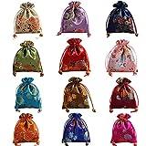 Aileder - 12 sacchetti per gioielli in broccato di seta con coulisse, sacchetti regalo per ricevimenti nuziali e artigianato fai da te