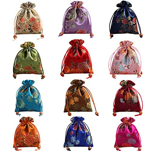Aileder 12 bolsas de seda brocado para joyas, bolsa de regalo con cordón para bodas y manualidades