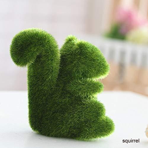 WVHGDS Ornamenten Decoratie Leuke Dierlijke Vorm Simulatie Groen Gras Ornamenten Emulationele Groene Plant Bonsai Gras Dierlijke Decoratie voor Thuis Tuin Squirrel
