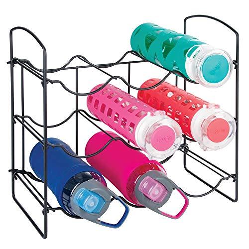 mDesign Metal Free-Standing Water Bottle and Wine Rack Storage Organizer for Kitchen Countertops Pantry Fridge - 3 Levels Holds 9 Bottles - Matte Black