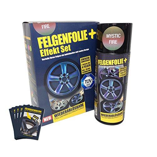 Preisvergleich Produktbild mibenco 71000006 FELGENFOLIE+ Effekt Set,  2 x 400 ml,  Mystic Fire - Flüssiggummi Spray / Sprühfolie - Neue Chamäleon-Flip-Flop-Farbe und Schutz zum Felgen lackieren