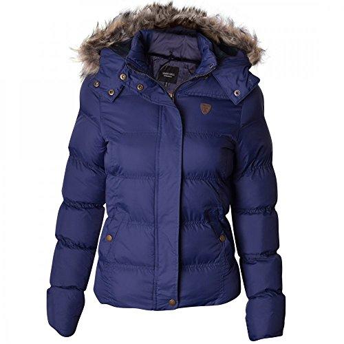 Ladies Womens Brave Soul Designer Fur Hooded Short Jacket Quilted Puffer Padded Coat UK 12/ US 10/ AUS 14/ EU 40/ Medium Navy Blue
