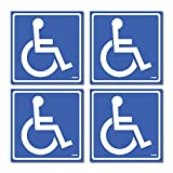 (4 Pack) Disabled Wheelchair Sign Stickers, Disability Sign, Handicap Sign Sticker, Vinyl Sticker Decal, 5.5 x 5.5' inch. Blue and White Sticker Decals