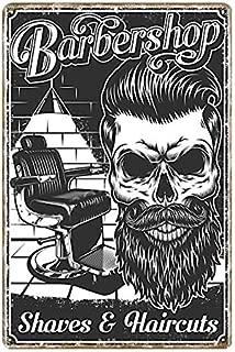 KUSTOM FACTORY Picture Gifts Placa Acero Skull Barber Shop Vintage