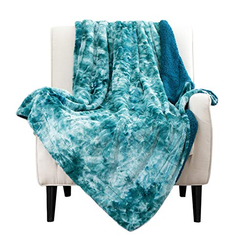 Bedsure Faux Fur Reversible Tie-dye Sherpa Throw Blanket for Sofa, Couch and Bed - Super Soft Fuzzy Fleece Blanket for Outdoor, Indoor, Camping, Gifts (50x60 inches, Teal)