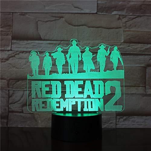 3D Veilleuse, Jeu Red Dead Redemption Veilleuse Cadeau Décoration Accessoires Néerlandais Van Der Linde Led Lumière Lampe Chambre Décor