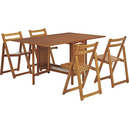 Kotula's 5-Piece Space-Saving Dining Set, Table and 4 Chairs, Oak Finish