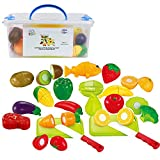 IQ Toys Play Food Set 35 Piece Cutting Fruits and Vegetables Playset with 2 Knives and Cutting Boards Accessories in Storage Container