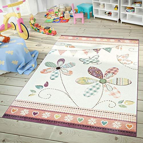 TT Home Moderner Kinderteppich Spielzimmer Mädchen Blumen Design Bunte Farben Pastell, Größe:160x220 cm