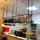 AERVEAL Wine Bottle Holder Hanging Wine Glass Cup Rack with Led Light Stemware Holder to Hang Cocktail or Champagne Flutes for Kitchen, Bar, Pubs or Restaurants Rack,80Cm(31.5In),80Cm(31.5In)