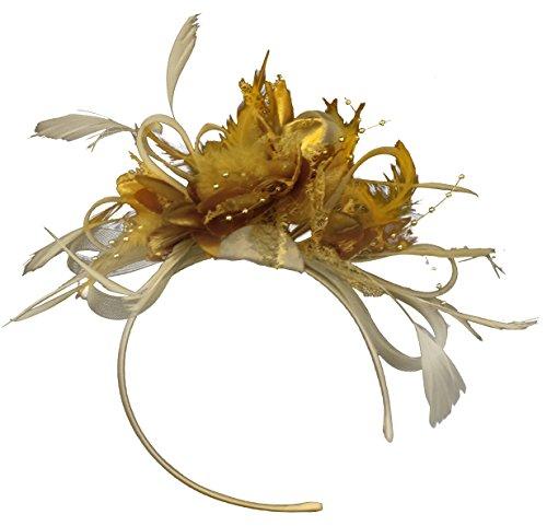 Caprilite Fashion Creme und Gold BURLESQUE FASCINATOR Stirnband Hochzeit KOPFSCHMUCK HAARSCHMUCK