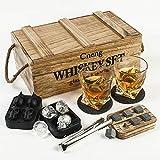 Set de regalo de whisky para hombre, personalizable, vasos de whisky de 10 onzas + 6 piedras de whisky con caja de madera, regalos de cumpleaños, bodas, aniversario/jubilación, regalo para él y papá