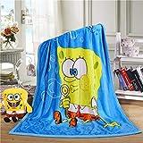 HHKX100822 Doppelschicht Kinder Decke Super Weiche Dicke Cartoon Baby Wolke Decke Kindergarten Nap Decke 100 x 140cm Spongebob Squarepants