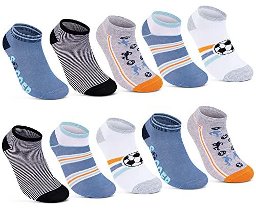 10 Paar Kinder Sneaker Socken Jungen & Mädchen Baumwolle Kindersocken 56568 (31-34)