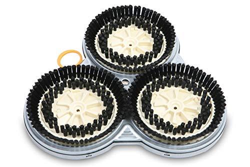Ersatzsscheiben Ersatzbürsten (Reinigungsset) passend für Vorwerk Pulilux PL 515 - zur Reinigung aller glatten Böden (ausser Korkböden) - Inklusive Kraftbelägen auf der Rückseite