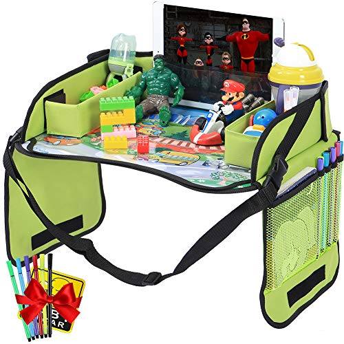 Innokids Kids Travel Lap Tray Children Car Seat Activity Snack and Play Tray Desk with Erasable Surface, iPad & Tablet Holder, Detachable Organizers for Cars, Planes & Baby Stroller (Fruit Green)