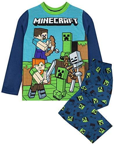 Conjunto de Pijama Azul de Manga Larga para niño Steve and Creeper de