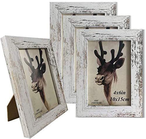 YGYQZ Fotorahmen 10 x 15 cm - er Holzrahmen Fotorahmen, 4er-Set, freistehende und hängende Dekoration, Vintage-Stil, Weiß