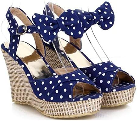 Details about  /Sweet Womens bowknot cross strap wedge heel Dress Party pumps Platform Shoes new
