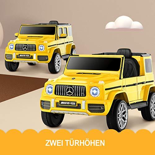 Uenjoy 12V Kinder Elektroautos Motorisierte Fahrzeuge für Mädchen, Jungen, mit Fernbedienung, Musik, Horn, Federaufhängung, Sicherheitsschloss, LED-Licht, AUX, Gelb