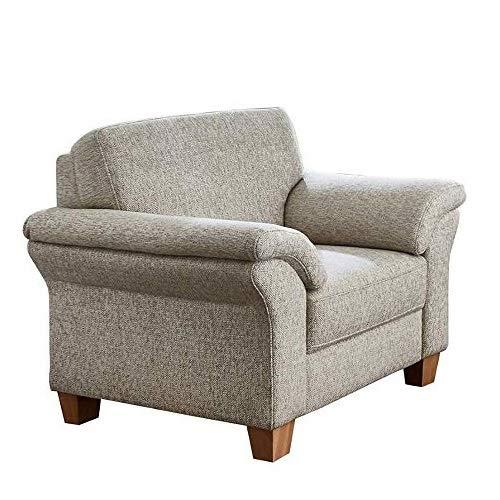 CAVADORE Sessel Byrum / Großer 1-Sitzer im Landhausstil mit Federkern / Passend zur edlen Sofagarnitur Byrum / 101 x 87 x 88 / Flachgewebe: Grau