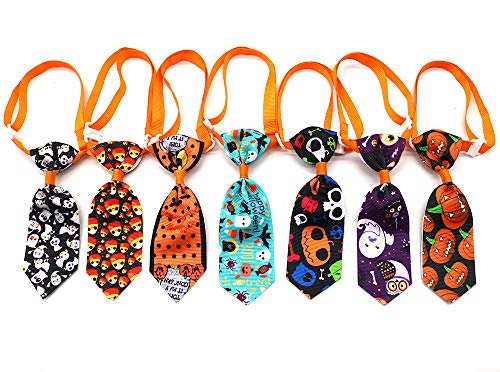Masue Pets 10pcs/Pack Cat Dog Ties for Halloween Autumn/Fall Pet Ties Pumpkin Skull Dog Neckties Dog Bowties Collar Holidays Dog Ties Dog Grooming Accessories