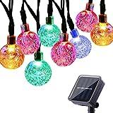 Spardar - Luci solari per feste di Natale, matrimoni, cantieri e vacanze, a energia solare, impermeabili, 2 modalità, 30 lampadine (colorate)