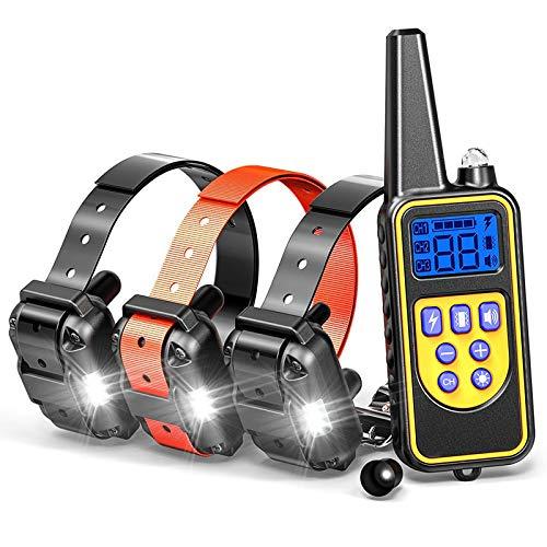 EASOUG Collier de dressage pour chien - Avec télécommande - Étanche et rechargeable - Pour entraînement à la maison - 800 m