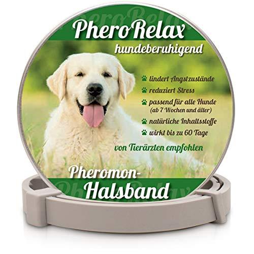 PheroRelax Collar calmante para perros, calmante natural para perros con feromonas para la ansiedad, el estrés y la agresividad, 60 días de tiempo de actividad, cachorros y perros adultos