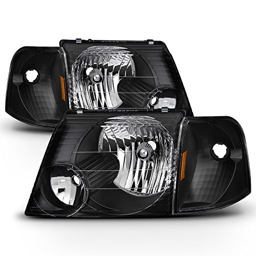 ACANII - For Blk 2002 2003 2004 2005 Ford Explorer Headlights+Corner Signal Lights Driver + Passenger Side