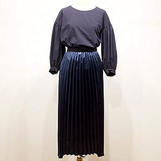 レディース スカート ネイビー 9号 マキシ丈シャイニープリーツロングスカート QA-S253