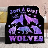 Wolf Blanket Stuffed Just Girl Who Loves Wolves Plush Gift for Kid Women Toddler Fleece Throw Cute Purple Animal Lover Lightweight Sheet Super Soft Flannel Blankets Decor Bed Chair-40 x30 Extra Small