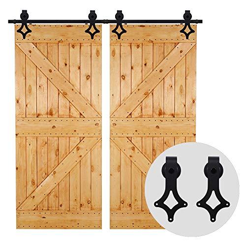 201cm/6.6FT Schiebetürsystem Set Rustikalen Stalltür Schiebetürbeschlag Doppeltür schiebetür laufschiene Set-Sliding Barn Wood Door Hardware Kit For Double Door