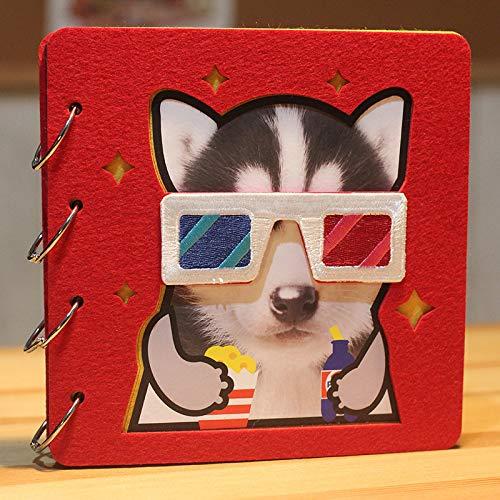 DDMY Album Katze Und Hund Haustier Serie Paste DIY Album Zwei Hain Kurze Gedenkbuch 20 X 20Cm Roter 3D-Film Ii Ha