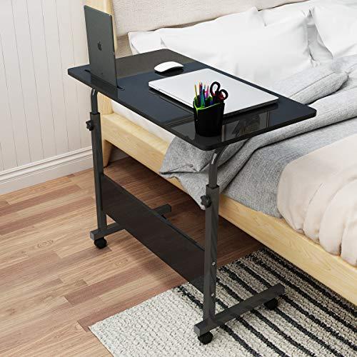 soges Computertisch Laptoptisch höhenverstellbar PC-Tisch mit Rollen, Oberfläche mit Einschnitt als Ständer für iPad Tablete Mobilphone 80CM*40CM,05#3-80BK