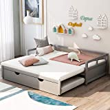 Extending Daybed with Trundle, Twin Size Trundle Daybed Solid Wood, Roll Out Trundle Accommodate Twin Size Mattresses, No Box Spring Needed (Gray)