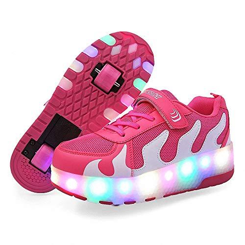 FZ FUTURE Blinken Skateboardschuhe, LED Rollschuhe mit Räder, Kinder Schuhe mit Rollen, Automatisch Verstellbares Räder Skateboardschuhe, für Kinder Mädchen Junge Erwachsene,Rosa,39