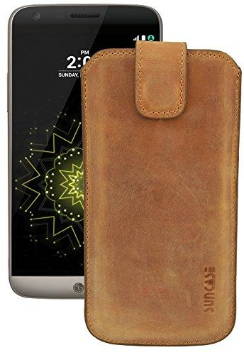 Suncase ECHT Ledertasche Leder Etui für LG G5 | LG G5 SE (mit Rückzugsfunktion & Verschluss) antik-cognac