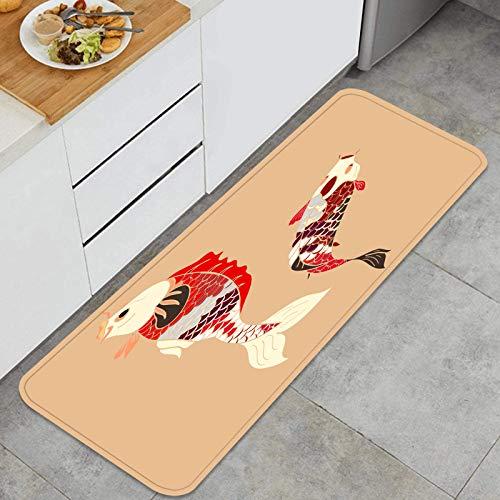 YANAIX Juegos de alfombras de Cocina Multiusos,Vector de Carpa koi aislar Dibujo de Tatuaje,Alfombrillas cómodas para Uso en el Piso de Cocina súper absorbentes y Antideslizantes