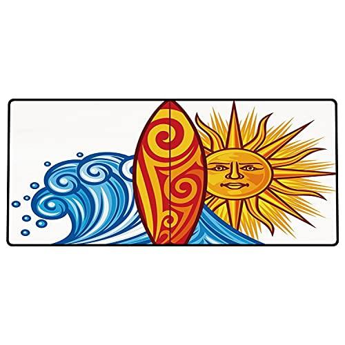 Alfombrilla de ratón para Juegos 600 x 300x3 mm,Ride The Wave, Ocean Wave con Sol y Tabla de Surf Lifestyle Summer Freedom Image, Vermilion Yello Base de Goma Antideslizante, Adecuada para Jugadores
