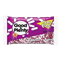 Enjoy delicious licorice flavor in a chewy pink candy. Packaged in a 5-pound bag for filling candy dishes, setting out at buffets or parties, and more. GOOD & PLENTY Candy is delicious treat. Perfect for family gatherings, birthday parties, or an aft...
