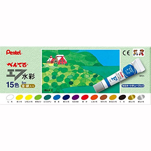 Pentel F watercolor laminated tubes 15 colors gold and silver enter WFR-15 (japan import)
