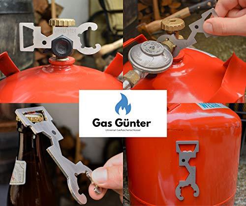 Llave universal para bombonas de gas para botellas de 5 y 11 kg (camping, caravana, parrilla) – de acero inoxidable, desarrollado y fabricado en Alemania – con imán