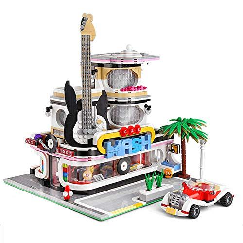 LNLJ Buildings Guitar Record Store Street View Model Blocks Educational Toys for Children (2168Pcs)